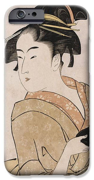 A Bust Portrait Of The Waitress Okita Of The Naniwaya Teahouse IPhone Case by Kitagawa Utamaro