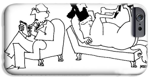 A Centaur Reclines On A Couch. His Psychiatrist IPhone Case by Ariel Molvig