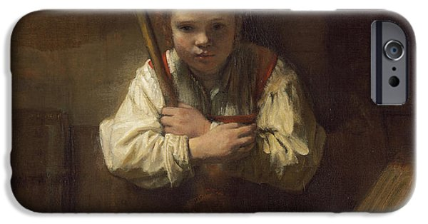 A Girl With A Broom IPhone Case by Rembrandt