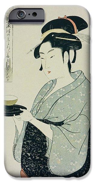 A Half Length Portrait Of Naniwaya Okita IPhone Case by Kitagawa Utamaro