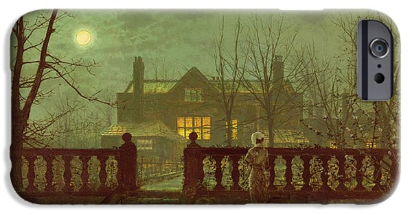 A Lady In A Garden By Moonlight IPhone Case by John Atkinson Grimshaw
