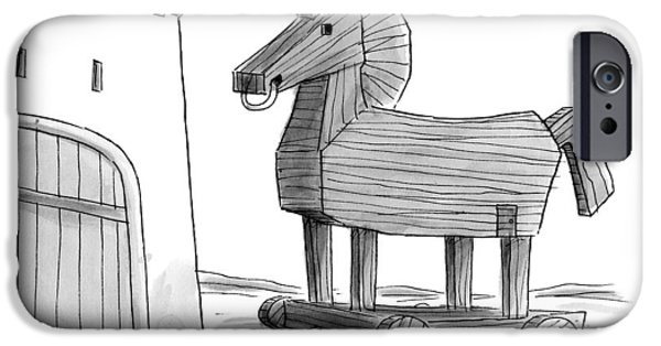 A Large Wooden Horse IPhone Case by Christopher Weyant