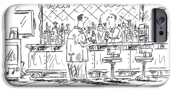 A Man At A Bar Talking To The Bartender IPhone Case by Barbara Smaller