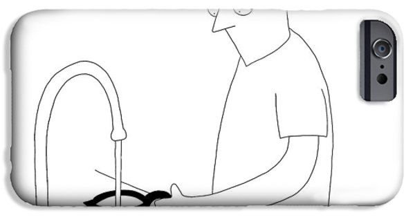 A Man Filling Up His Coffee Pot IPhone Case by Seth Fleishman