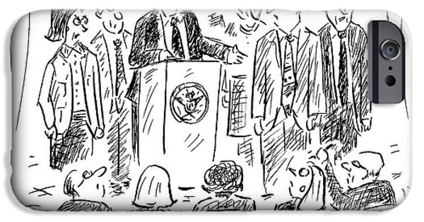 A Politician Speaks At A Podium IPhone Case by David Sipress