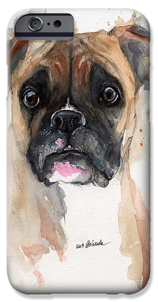 A Portrait Of A Boxer Dog IPhone Case by Angel  Tarantella