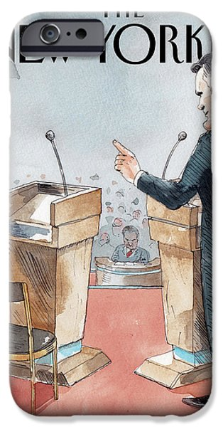 A Scene From The Presidential Debate IPhone Case by Barry Blitt