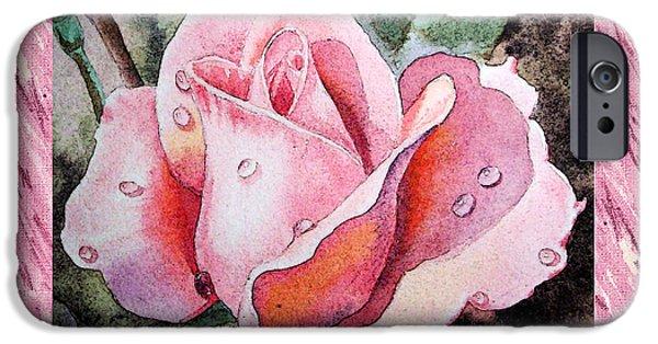 A Single Rose Make Me Pink  IPhone Case by Irina Sztukowski