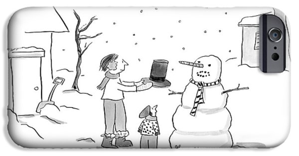 A Snowman Confronts A Mother IPhone Case by Liza Donnelly