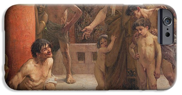 A Spartan Points Out A Drunken Slave To His Sons IPhone Case by Fernand Sabbate