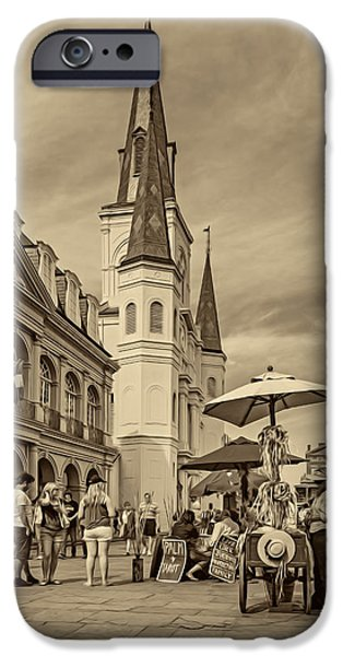 A Sunny Afternoon In Jackson Square Sepia IPhone Case by Steve Harrington