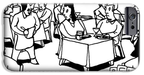 A Waitress In A Crowded Restaurant Addresses IPhone Case by Bruce Eric Kaplan