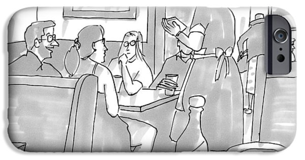 A Waitress Takes A Table's Order IPhone Case by Michael Crawford
