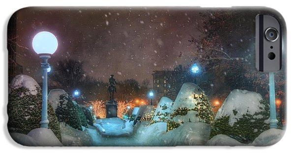 A Walk In The Snow - Boston Public Garden IPhone Case by Joann Vitali