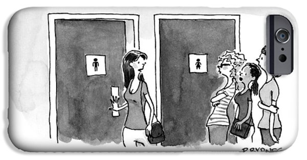 A Woman Going Into The Men's Restroom IPhone Case by Pat Byrnes