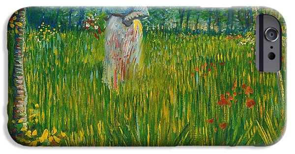 A Woman Walking In A Garden Van Gogh 1887 IPhone Case by Movie Poster Prints