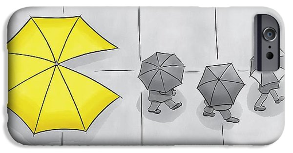 A Yellow Umbrella With A Pacman Mouth IPhone Case by Christian Lowe