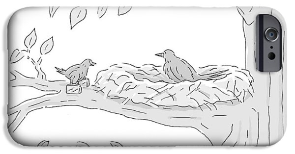 A Young Bird Carrying Two Small Suitcases Stands IPhone Case by Kim Warp