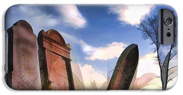 Abandoned Tombstones On The Prairie IPhone Case by Elaine Plesser