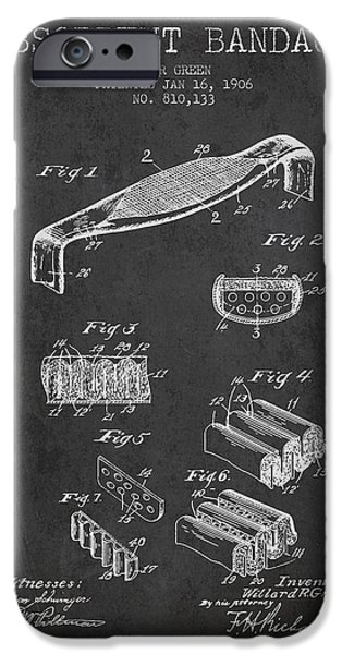 Absorbent Bandage Patent From 1906 - Charcoal IPhone Case by Aged Pixel