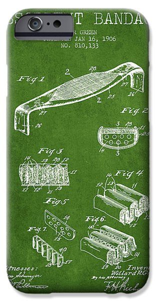 Absorbent Bandage Patent From 1906 - Green IPhone Case by Aged Pixel