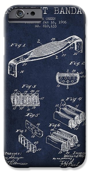 Absorbent Bandage Patent From 1906 - Navy Blue IPhone Case by Aged Pixel