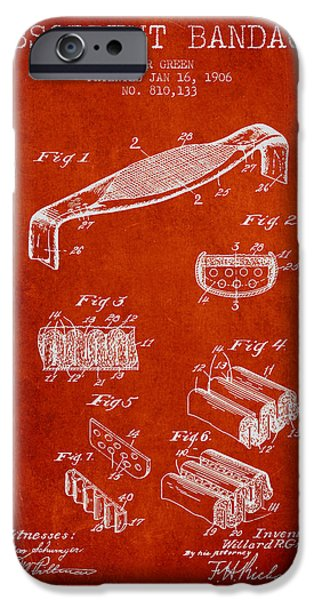 Absorbent Bandage Patent From 1906 - Red IPhone Case by Aged Pixel
