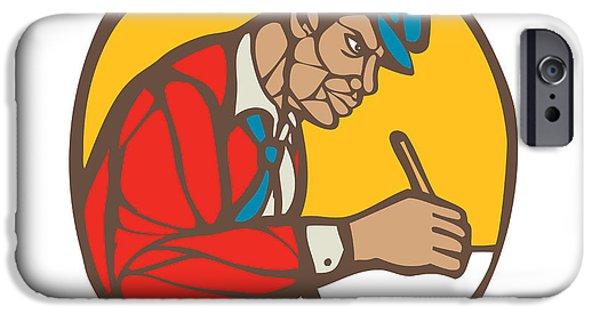 African-american Writer Journalist Woodcut Linocut IPhone Case by Aloysius Patrimonio