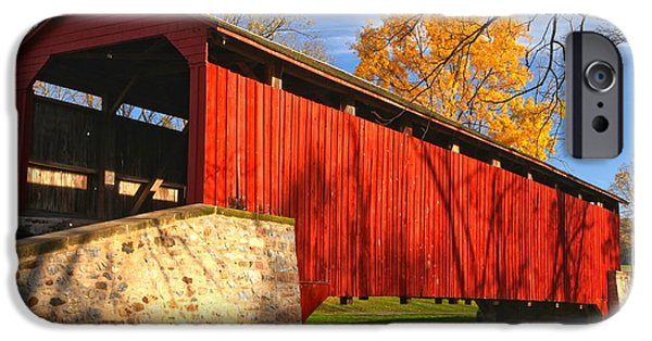Afternoon Light At The Poole Forge Covered Bridge IPhone Case by Adam Jewell