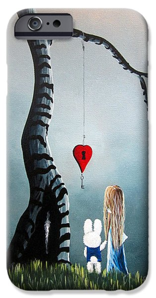 Alice In Wonderland Original Artwork - Alice And The Enchanted Key IPhone Case by Shawna Erback