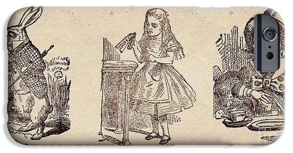Alice In Wonderland White Rabbit Mad Hatter Collage Horizontal Redux IPhone Case by Tricia CastlesNcrowns