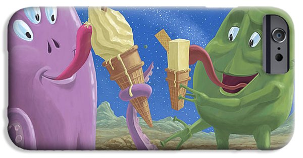 Alien Ice Cream IPhone Case by Martin Davey