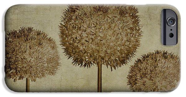 Allium Hollandicum Sepia Textures IPhone Case by John Edwards