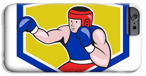 Amateur Boxer Boxing Shield Cartoon IPhone Case by Aloysius Patrimonio