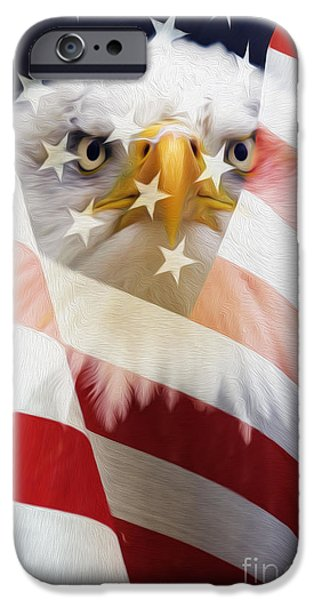 American Flag And Bald Eagle Montage IPhone Case by Tim Gainey