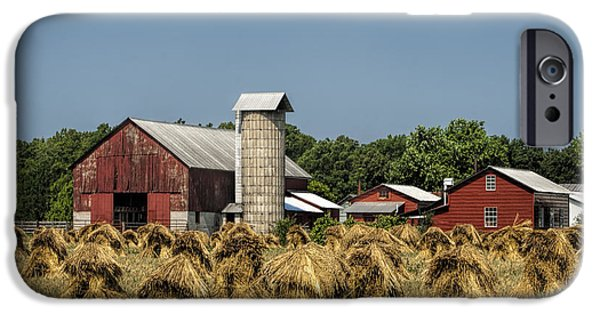 Amish Farm Wheat Stack Harvest IPhone Case by Kathy Clark