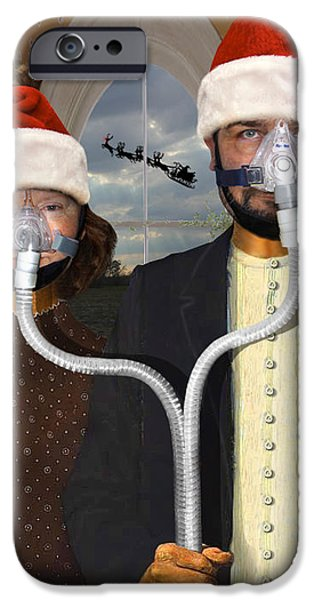 An American Gothic Sleep Apnea Merry Christmas IPhone Case by Mike McGlothlen
