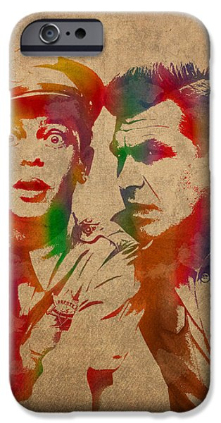 Andy Griffith Don Knotts Barney Fife Of Mayberry Watercolor Portrait On Worn Distressed Canvas IPhone Case by Design Turnpike