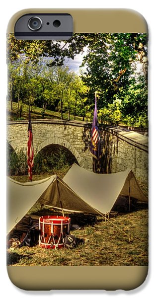 Antietam - 8th Connecticut Volunteer Infantry-a1 Encampment Near The Foot Of Burnsides Bridge IPhone Case by Michael Mazaika