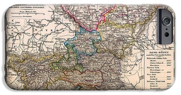 Antique Map Of Bohemia And Austria 1862 IPhone Case by Mountain Dreams