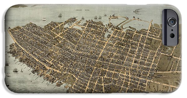 Antique Map Of Charleston South Carolina By C. N. Drie - 1872 IPhone Case by Blue Monocle