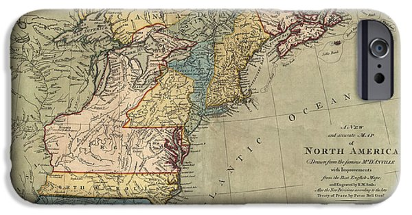Antique Map Of Colonial America By Peter Bell - 1771 IPhone Case by Blue Monocle