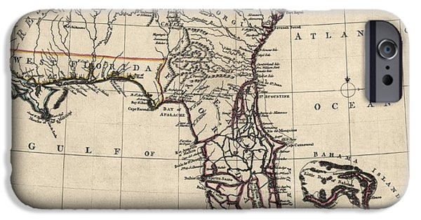Antique Map Of Florida And The Southeast By Thomas Jefferys - 1768 IPhone Case by Blue Monocle