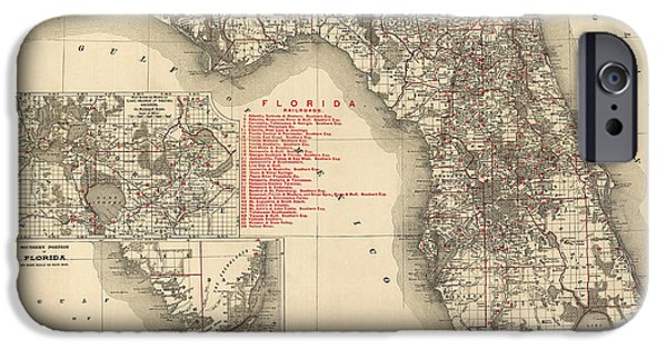 Antique Map Of Florida By Rand Mcnally And Company - 1900 IPhone Case by Blue Monocle