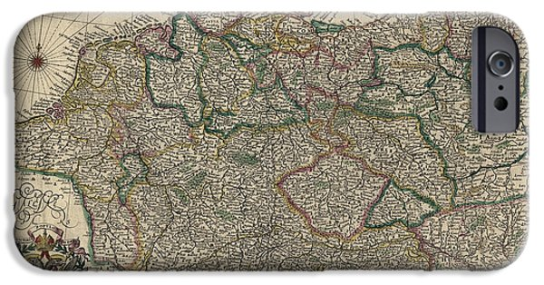 Antique Map Of Germany By Willem Janszoon Blaeu - 1647 IPhone Case by Blue Monocle
