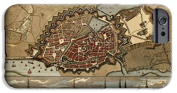 Antique Map Of Hamburg Germany By Pieter Schenk - Circa 1702 IPhone Case by Blue Monocle