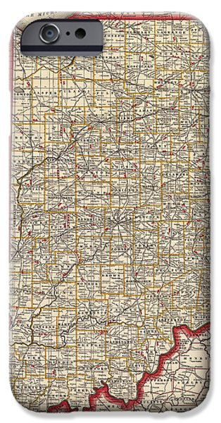 Antique Map Of Indiana By George Franklin Cram - 1888 IPhone 6s Case by Blue Monocle