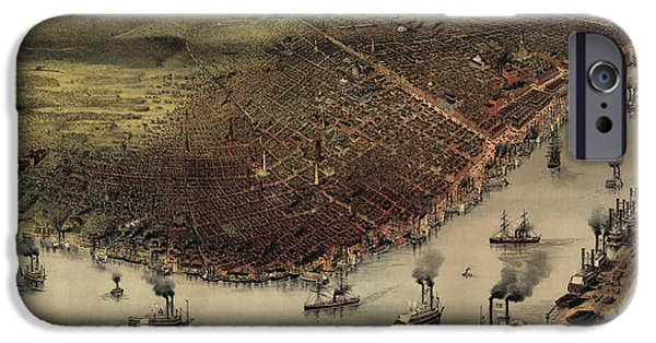 Antique Map Of New Orleans By Currier And Ives - Circa 1885 IPhone Case by Blue Monocle