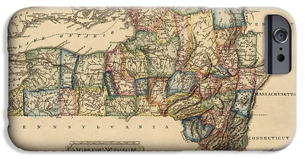 Antique Map Of New York State By Fielding Lucas - Circa 1817 IPhone Case by Blue Monocle