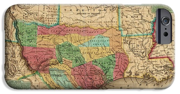 Antique Map Of Texas By James Hamilton Young - 1835 IPhone Case by Blue Monocle